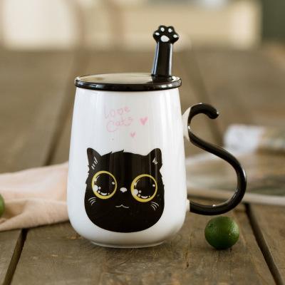 创意韩版猫咪陶瓷杯子情侣学生个性水杯牛奶杯马克杯