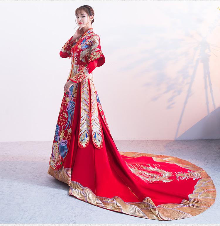 送头饰】新款拖尾秀禾服中式新娘结婚龙凤褂礼服旗袍图片