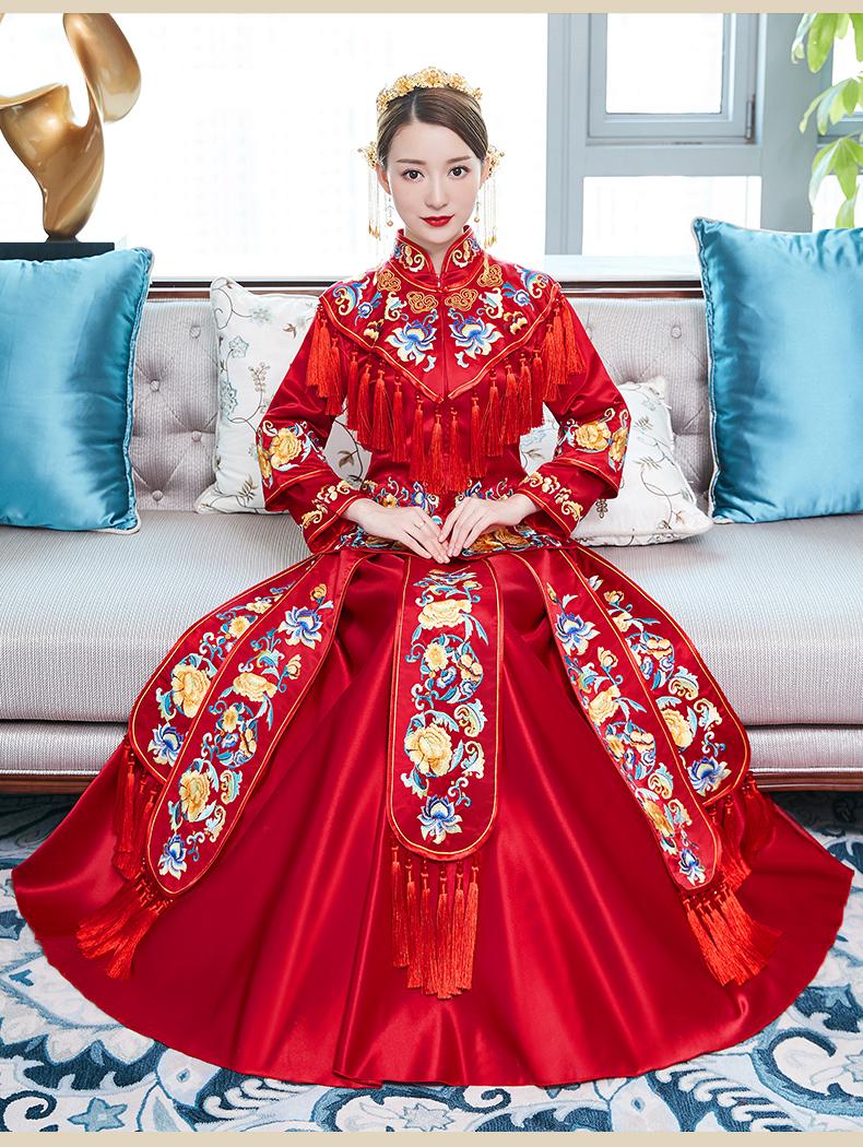 秀禾服新娘秋冬结婚中式礼服嫁衣复古婚纱红色流苏齐地古风敬酒服