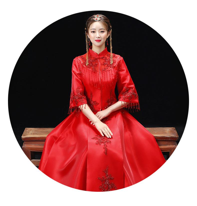 秀禾服秋冬季新款新娘结婚中式婚纱礼服红色旗袍长款