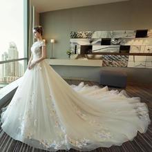 新款!婚纱礼服2018新款一字肩新娘婚纱奢华浪漫拖尾显瘦婚纱