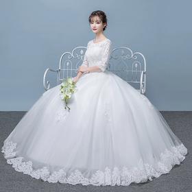 森系一字肩婚纱礼服 新款新娘结婚韩版齐地长袖显瘦简约秋