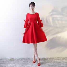 孕妇新娘敬酒服高腰短款 新款冬季韩版大码喇叭袖回门礼服