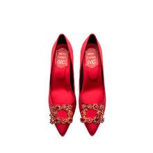 直降50 雅思曼lelts方扣红色真丝绸缎单鞋婚鞋