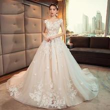 花仙子款!齐地婚纱礼服韩式v领新娘结婚显瘦公主大码梦幻