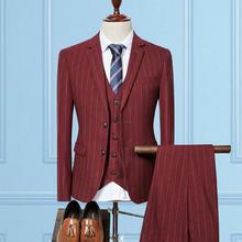 送精美礼物】条纹套装男士英伦修身三件套新郎结婚礼服正装
