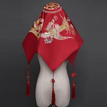新娘盖头中式结婚古典头巾喜帕红头巾红盖头绣花流苏盖头