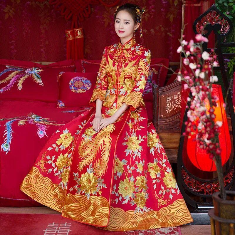 送头饰】秀禾服新娘新款结婚敬酒服嫁衣古装中式婚纱