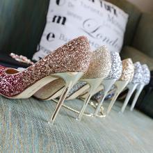 渐变银色高跟鞋女细跟尖头婚鞋新娘鞋婚纱亮片高跟