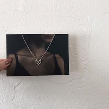 【146】少女简约百搭镂空心形项链温婉气质个性锆石锁骨链
