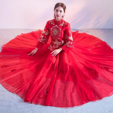 秀禾服新娘2017新款红色敬酒服结婚旗袍古装中式婚纱