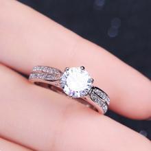s925纯银戒指仿真1克拉锆石结婚钻戒日韩潮人个性创意开口