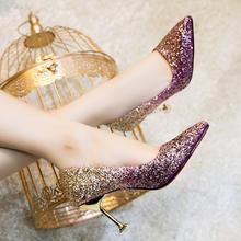 2018春欧美新娘鞋婚鞋女新款伴娘鞋亮片婚纱水晶鞋