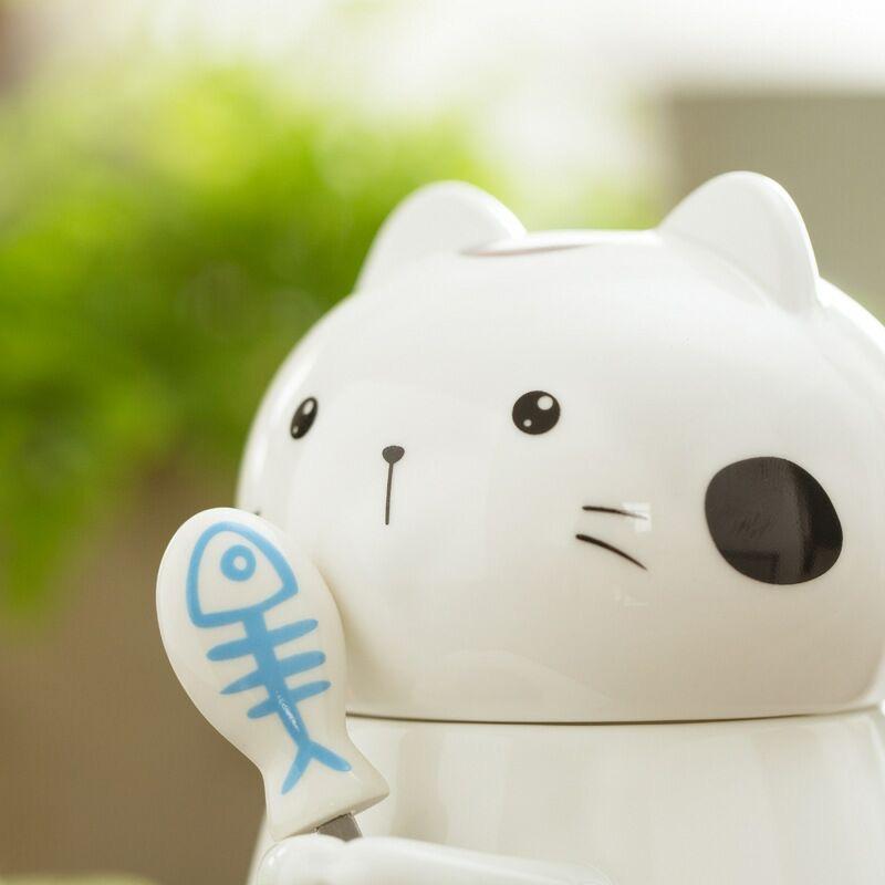 创意卡通陶瓷杯 可爱猫咪立体马克杯 大容量水杯 牛奶