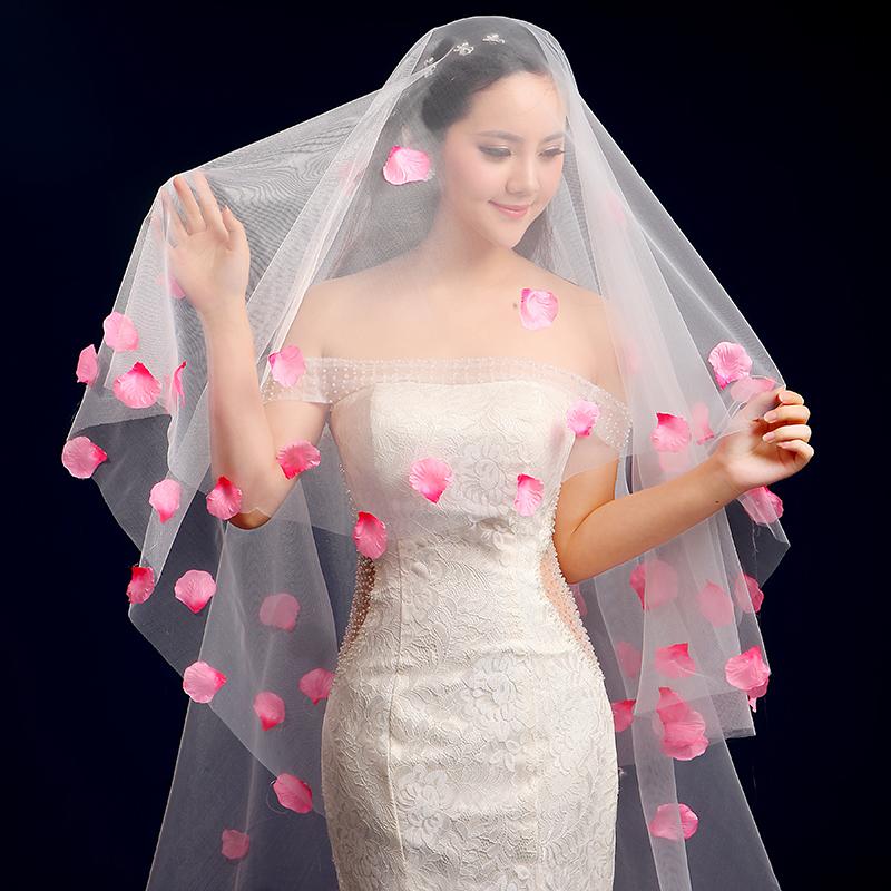 新款新娘婚纱头纱粉色桃花花瓣超仙头纱图片