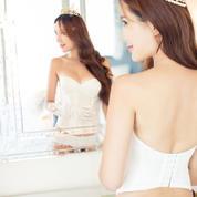 212新娘白色婚纱礼服内衣 收腹聚拢防滑塑身衣无肩带文胸