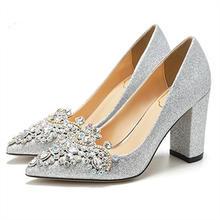结婚鞋子婚纱婚鞋女春2018新款亮片银色粗跟高跟鞋女冬粗跟单
