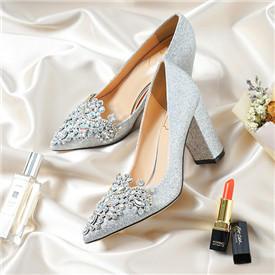韩式亮片银色粗跟婚鞋