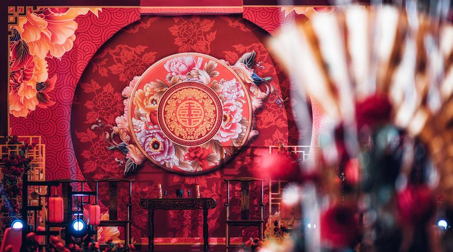 南京东郊国宾馆传统中式婚礼 牡丹图