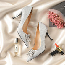 银色细跟尖头方扣水钻婚纱鞋伴娘婚鞋