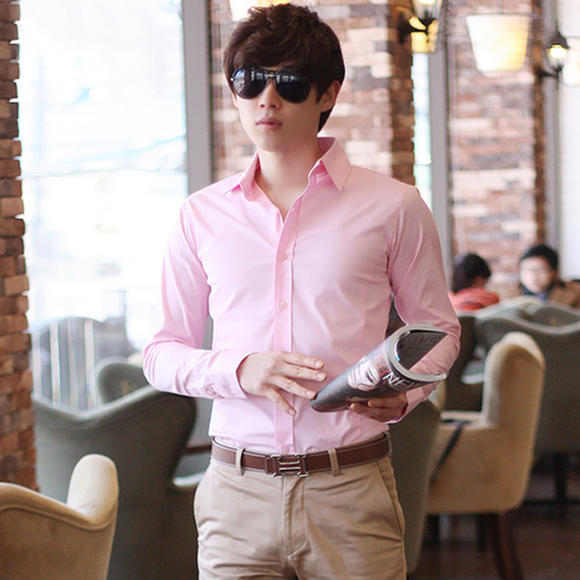 春夏季男士长袖衬衫韩版修身型免烫商务男式青年白色棉质衬衣