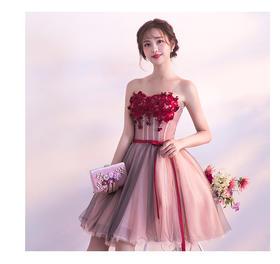 伴娘礼服201新款春季抹胸演出派对聚会短款粉色显瘦晚礼服