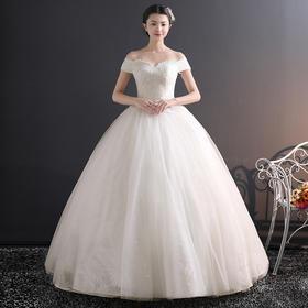 一字肩婚纱2018新款欧美2018公主梦幻宫廷齐地新娘结婚春