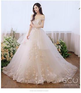 一字肩婚纱2018新款拖尾新娘礼服公主梦幻森系新娘礼服小个子