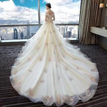 宫廷高腰设计!新娘结婚拖尾公主梦幻欧美宫廷孕妇大码显瘦