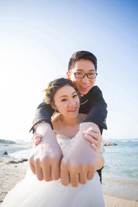 唯美海景相框婚纱照