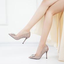 新娘鞋子春季水钻婚鞋女2018新款浅口亮片尖头高跟鞋女细跟单