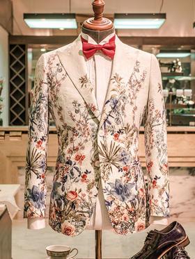 花图案大戗驳头男士礼服创意婚纱礼服