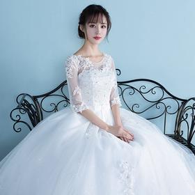 婚纱礼服新款齐地一字肩创意婚纱礼服