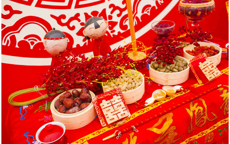 【为爱婚礼】中国红·庭院风农村户外婚礼布置