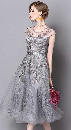 女装夏季新款礼服网纱刺绣纯色连衣裙
