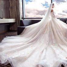 新娘头纱2018新款韩式结婚配饰蕾丝白色长款3米婚纱婚礼配饰