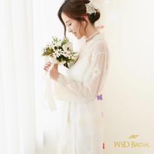 爱纱婚礼晨袍两件套新娘睡袍定制刺绣伴娘化妆wsdbridal