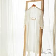 羽衣 新娘睡袍 婚礼晨袍 bride刺绣 字母定制 烫钻婚礼