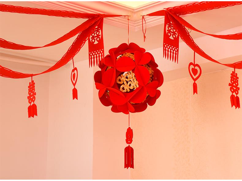 婚庆用品喜字灯笼创意绣球结婚无纺布拉花吊篮婚礼婚