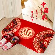 包邮:结婚庆用品新房装饰玄门喜字脚垫婚房门地垫卧室进门地毯