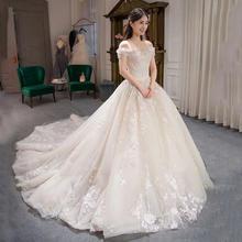 婚纱礼服2018新款新娘结婚一字肩长拖尾修身显瘦HS722