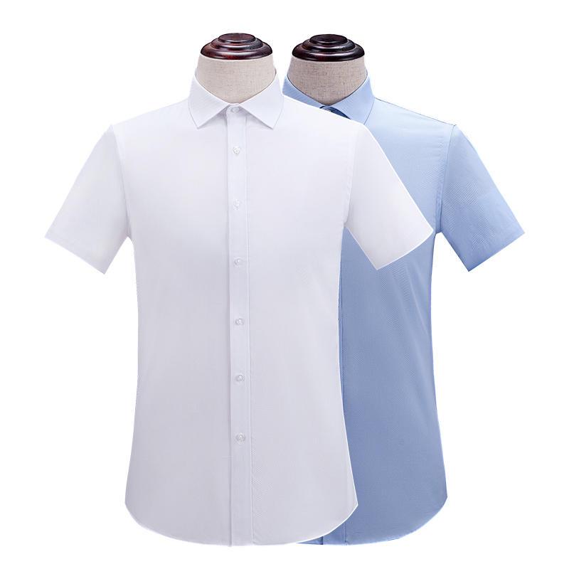 婚礼男士纯色半袖衬衫