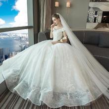 【厂家官方正品/送9件套】一字肩婚纱2018新款时尚新娘婚纱