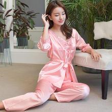 睡衣女夏季三件套韩版清新公主七分袖宽松吊带家居服仿真套装