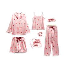 包邮草莓七件套睡衣女春秋夏甜美可爱吊带家居服长袖套装仿真丝