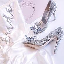 baby同款灰姑娘水晶鞋  尖头水钻装饰浅口女鞋婚鞋