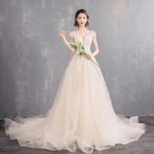 超仙旅拍婚纱!轻婚纱花瓣韩式新娘结婚礼服长拖尾修身显瘦森系