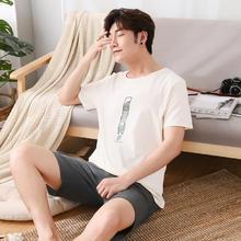 2018夏季男士睡衣纯棉短袖短裤家居服全棉薄款青少年大码学生