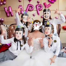 5张包邮 结婚明星拍照面具婚礼整蛊红盖头搞笑面具结婚通关
