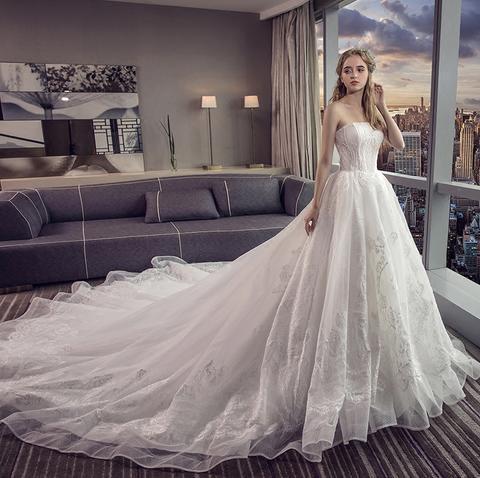 抹胸婚纱礼服2018新款新娘大拖尾公主梦幻宫廷显瘦欧美婚纱